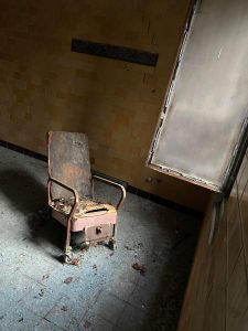 A rusted chair at CSH